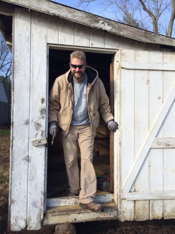 Mark in the chicken coop