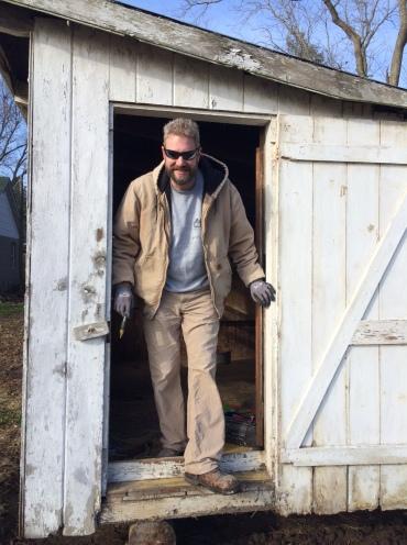 Mark in the chicken coop
