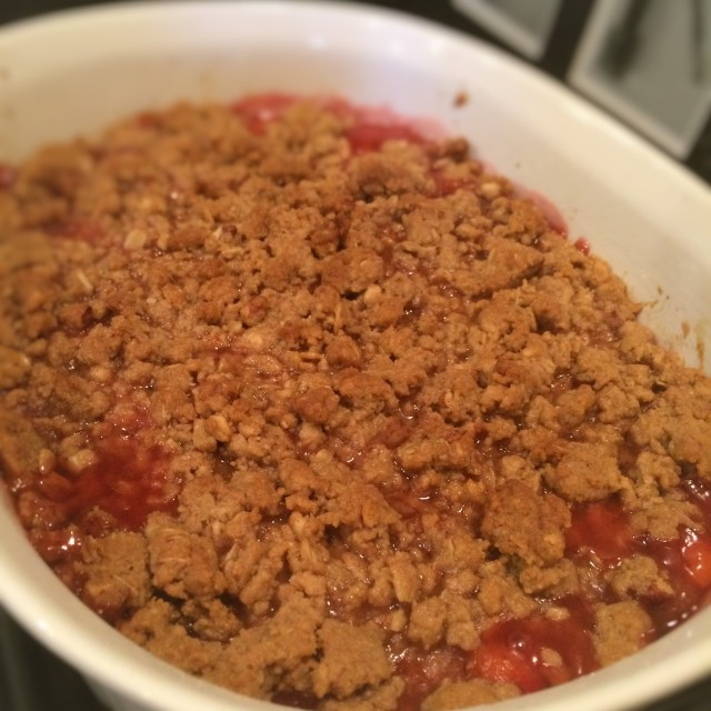 completed cherry crisp from oven